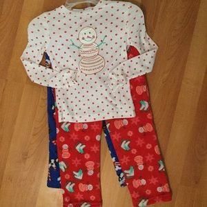Holiday PJ Set Extremely Me Size 4T Snowman & Pups